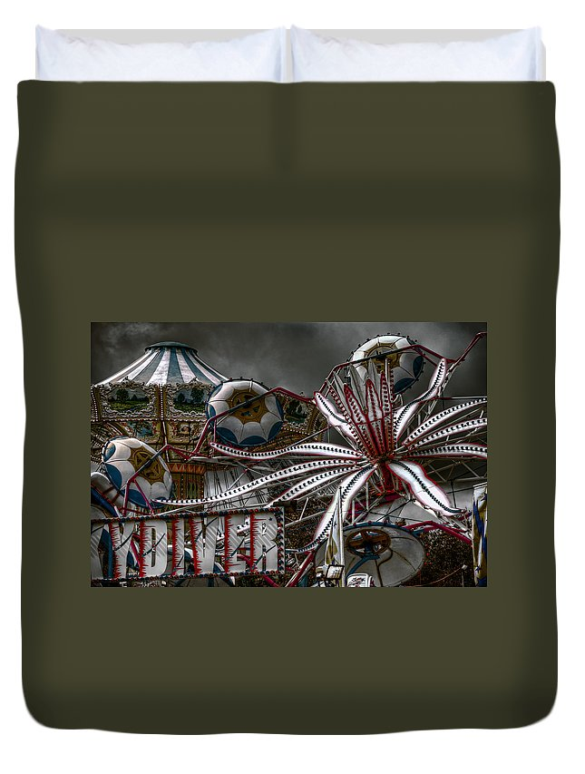 Fair Duvet Cover featuring the photograph Fairground Rides by Wayne Sherriff