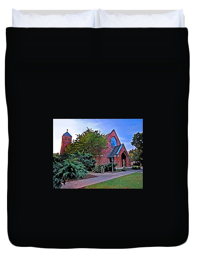 Church Duvet Cover featuring the painting Fairhope Alabama Methodist Church by Michael Thomas