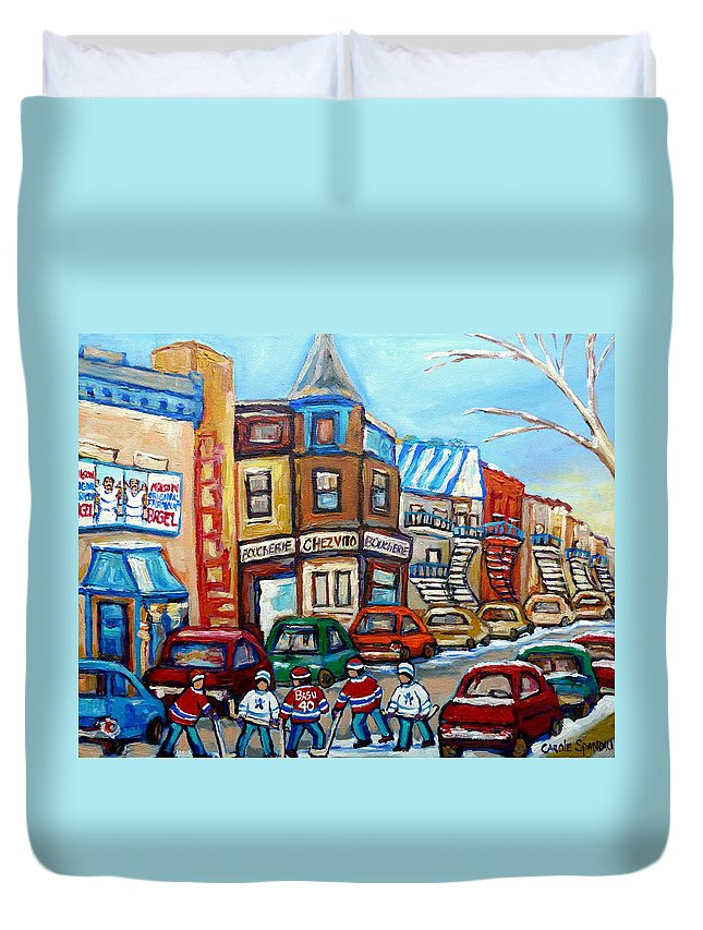 Montreal Duvet Cover featuring the painting Fairmount Bagel And Hockey by Carole Spandau