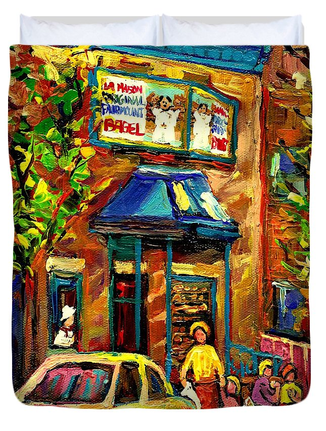Fairmount Bagel Duvet Cover featuring the painting Fairmount Bagel In Montreal by Carole Spandau