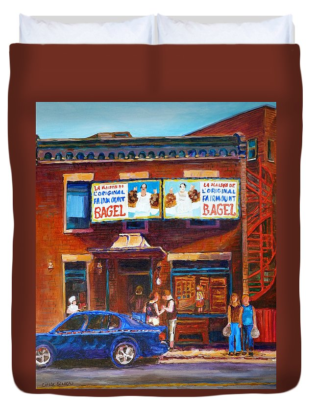 Fairmount Bagel Duvet Cover featuring the painting Fairmount Bagel With Blue Car by Carole Spandau