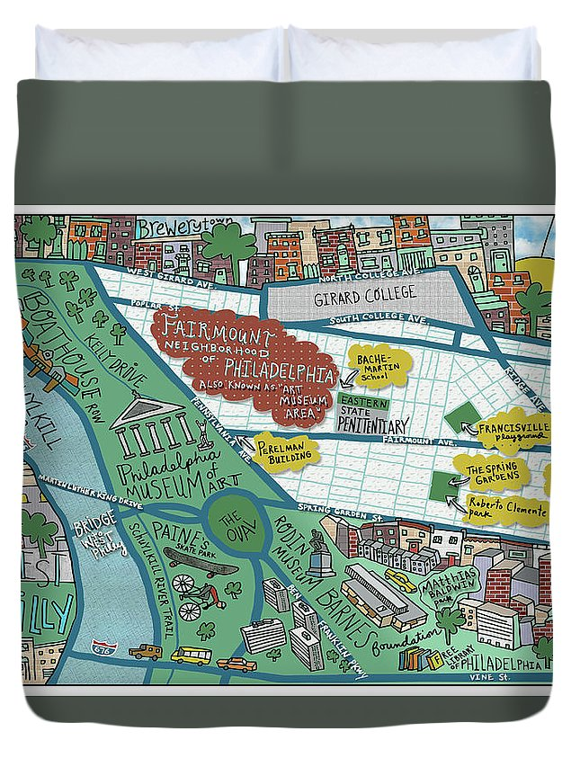 Map Duvet Cover featuring the drawing Fairmount Neighborhood Map by Jessie Husband