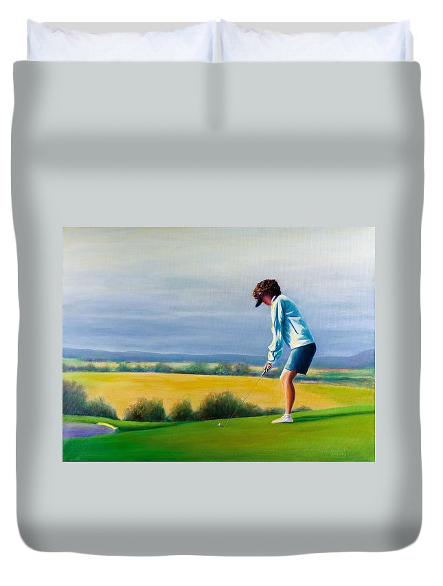Golfer Duvet Cover featuring the painting Fairy Golf Mother by Shannon Grissom