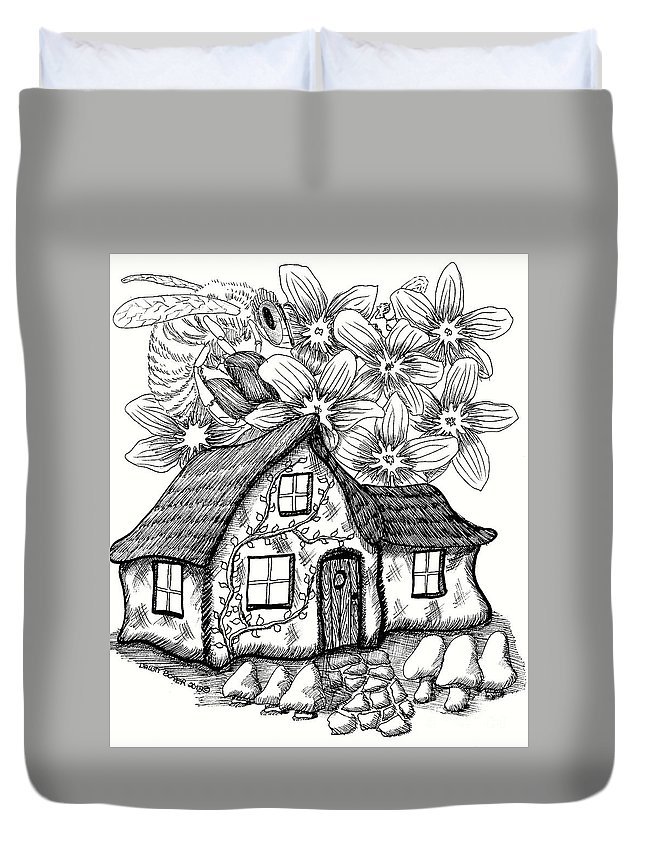 #dawndboyer Duvet Cover featuring the drawing Fairy House, Bee, And Dogwood by Dawn Boyer