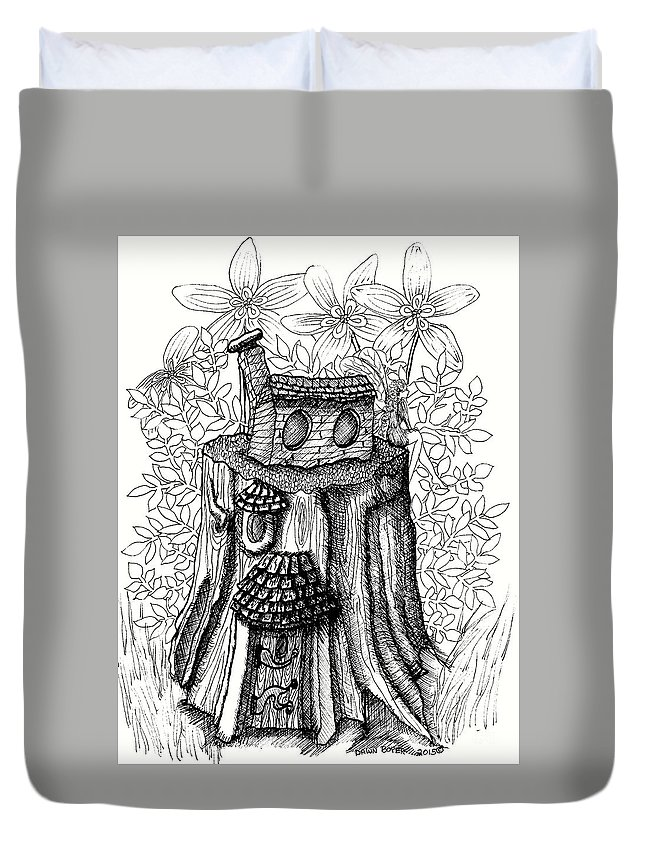 #dawndboyer Duvet Cover featuring the drawing Fairy House Stump With Penthouse by Dawn Boyer
