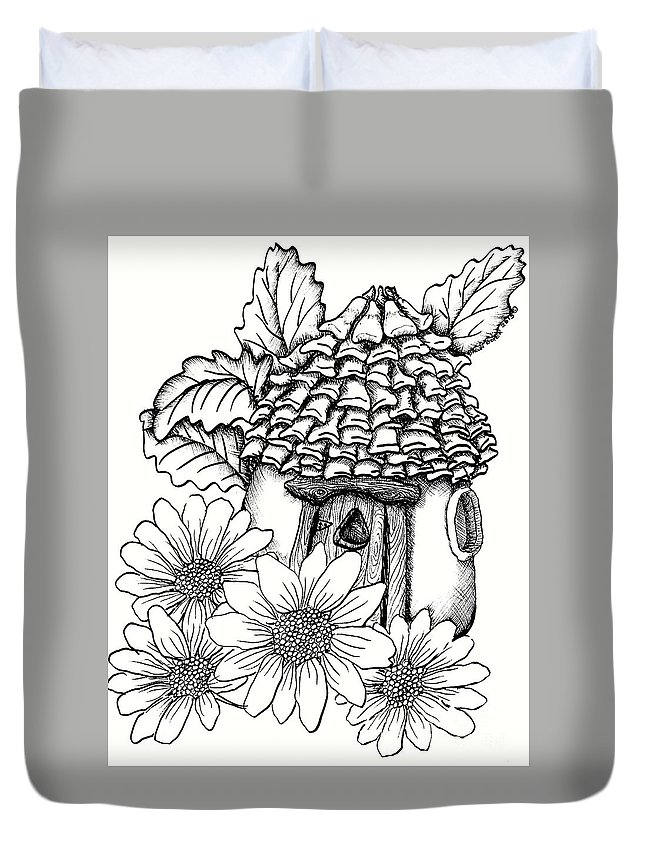 #dawndboyer Duvet Cover featuring the drawing Fairy House With Pine Cone Roof And Daisies by Dawn Boyer