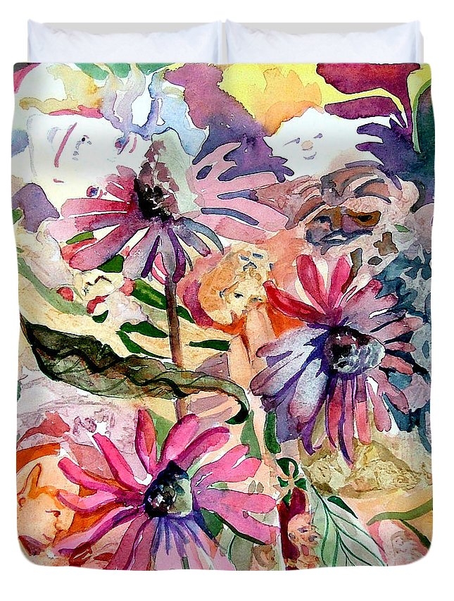 Daisy Duvet Cover featuring the painting Fairy Land by Mindy Newman