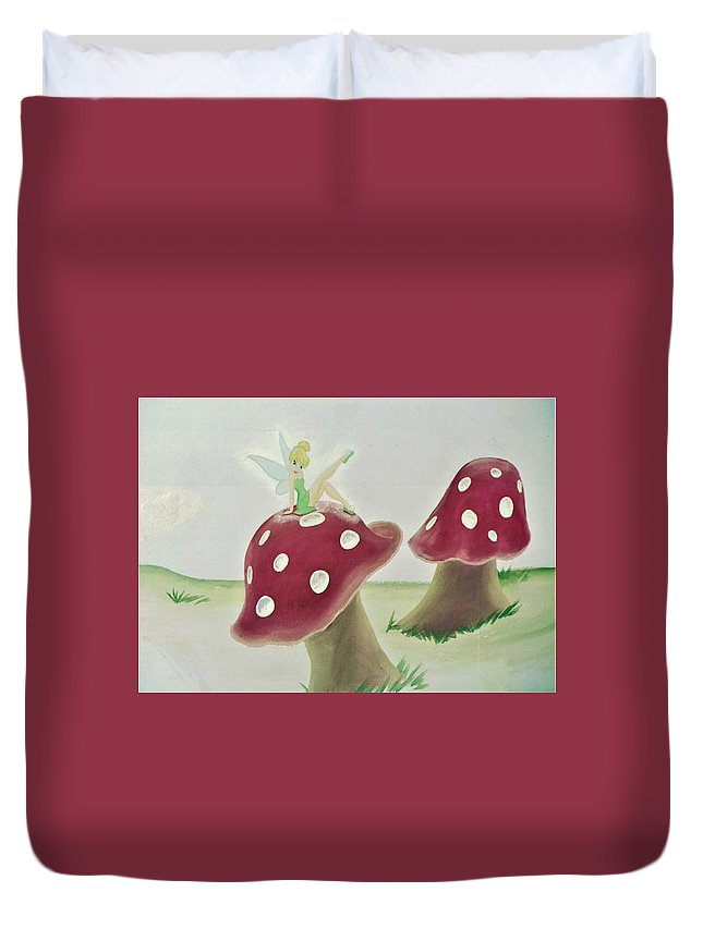 Fairy Duvet Cover featuring the painting Fairy On Mushroom Trees by Suzn Art Memorial