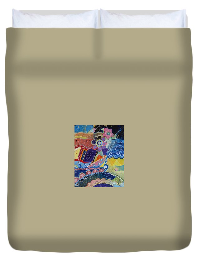 Imaginary Duvet Cover featuring the painting Fairy Tales by Helena Tiainen