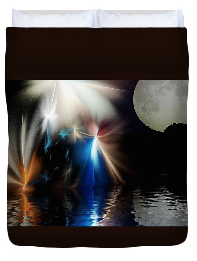 Digital Painting Duvet Cover featuring the digital art Fairy's Moonlight Ball by David Lane