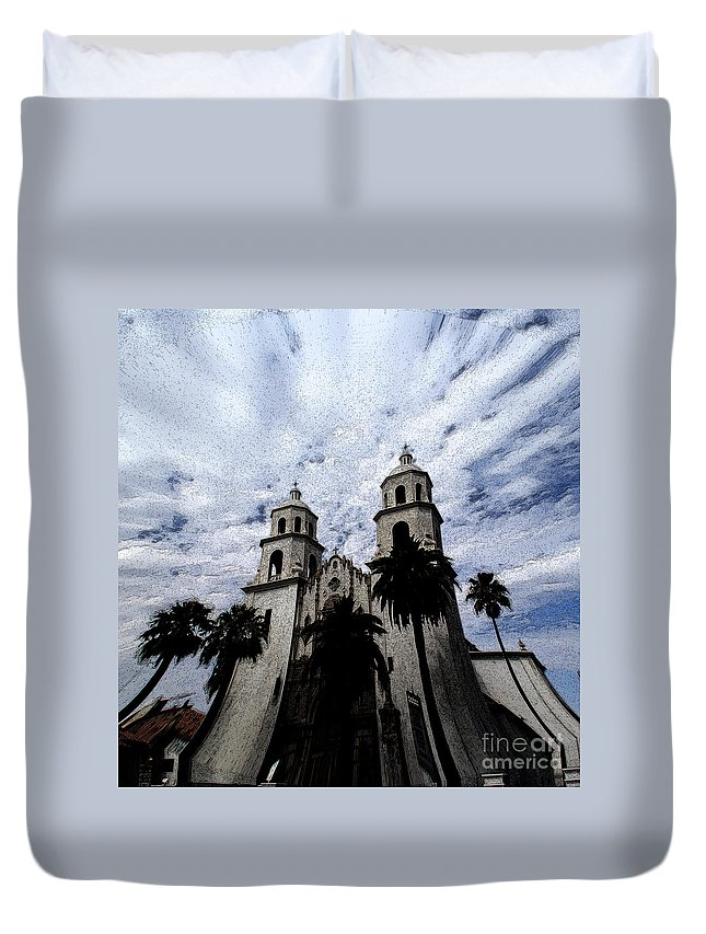 Cathedral Duvet Cover featuring the photograph Faith Arizona by Linda Shafer