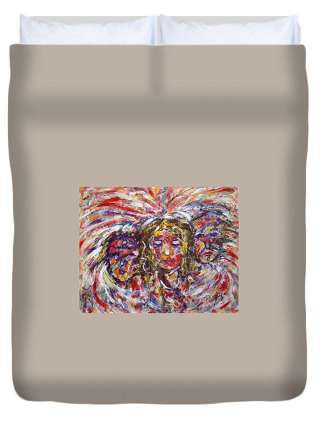 Woman Duvet Cover featuring the painting Faith Hope And Love by Natalie Holland