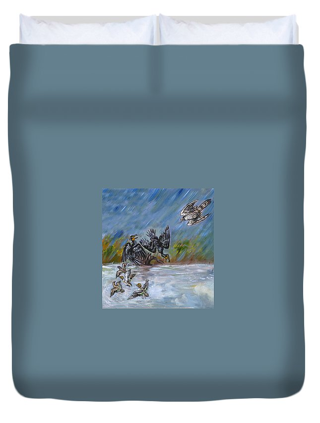 Animal Duvet Cover featuring the painting Falcon Attack by Dawn Senior-Trask