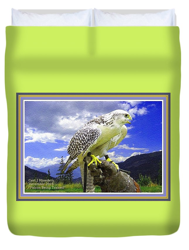 Rural Duvet Cover featuring the painting Falcon Being Trained H A With Decorative Ornate Printed Frame. by Gert J Rheeders