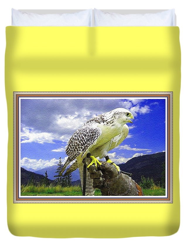 Rural Duvet Cover featuring the painting Falcon Being Trained H B With Decorative Ornate Printed Frame. by Gert J Rheeders