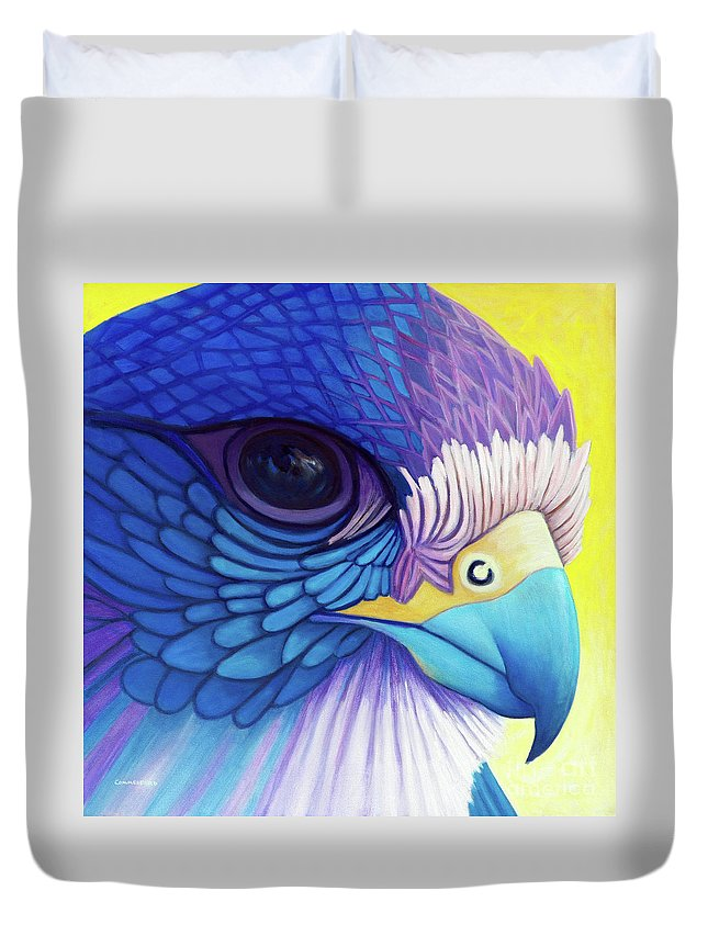 Falcon Duvet Cover featuring the painting Falcon Medicine by Brian Commerford