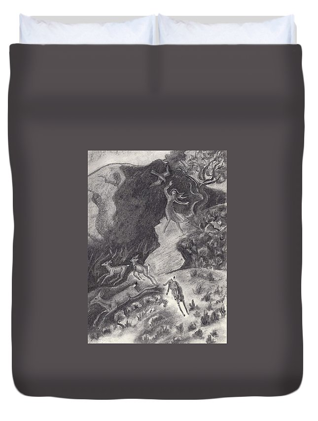 Animal Duvet Cover featuring the drawing Falcon's Near Miss by Dawn Senior-Trask