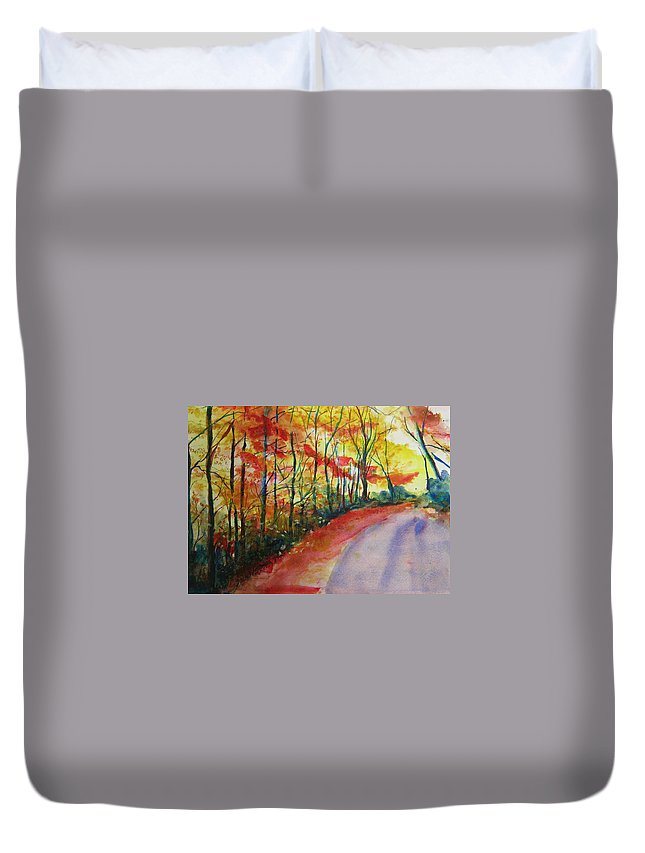 Abstract Landscape Duvet Cover featuring the painting Fall Abstract by Lizzy Forrester