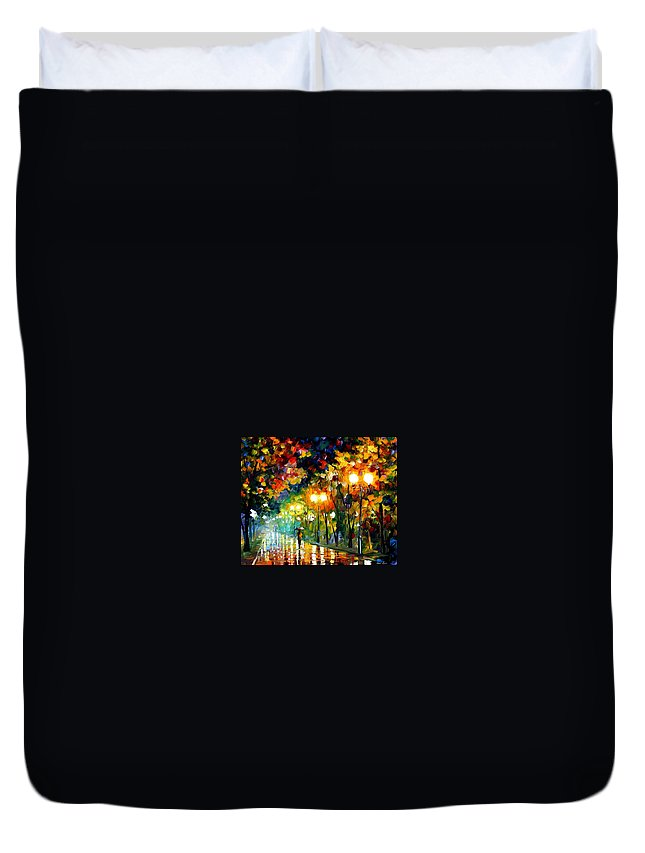 Afremov Duvet Cover featuring the painting Fall Alley by Leonid Afremov