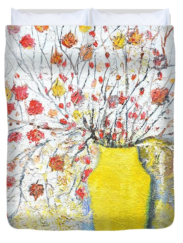 Ikebana Duvet Cover featuring the painting Fall Arrangement by Evelina Popilian