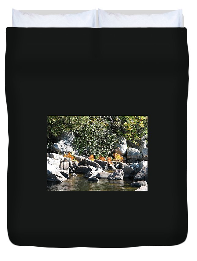 Creek Duvet Cover featuring the photograph Fall At The Creek by Kelly Mezzapelle