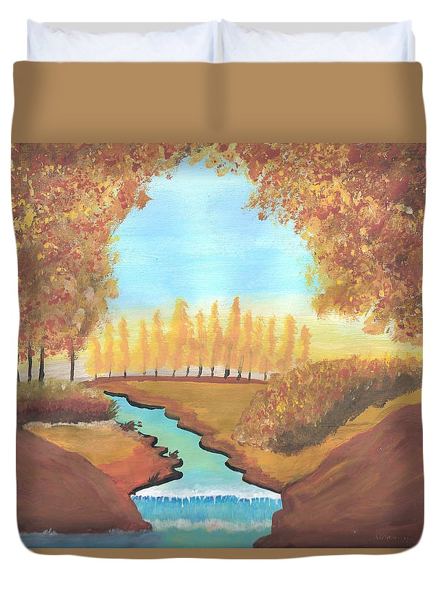 Meadows Duvet Cover featuring the painting Fall At The Meadows by Ricardo Gonzalez