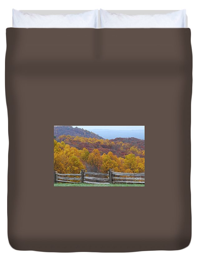 Fence Duvet Cover featuring the photograph Fall Blend by Eric Liller
