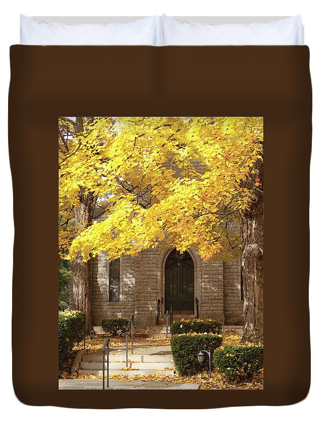 Autumn Duvet Cover featuring the photograph Fall Church by Richard Larson