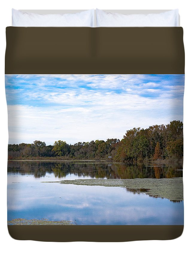 3 Type Duvet Cover featuring the photograph Fall Color On The Pond by Alicia Collins