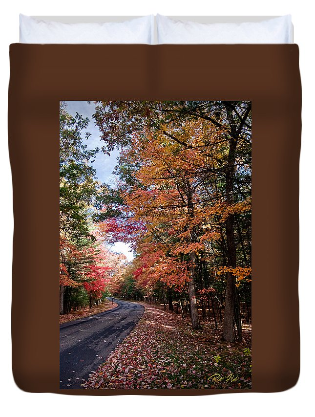 Autumn Duvet Cover featuring the photograph Fall Colors Backroad by Rikk Flohr