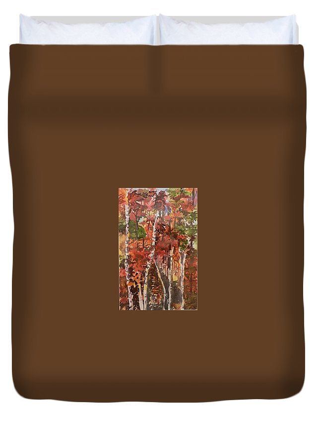 Trees Duvet Cover featuring the painting Fall Colors by Geeta Biswas