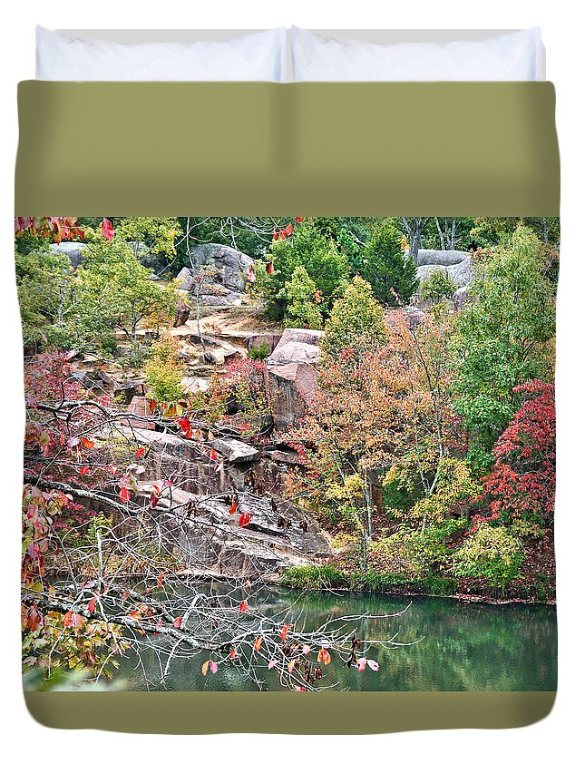 Elephant Duvet Cover featuring the photograph Fall Colors In Depth by Larry Jost