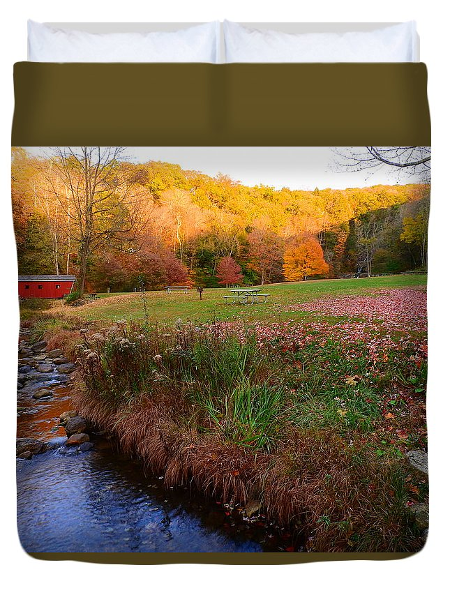 Landscape Duvet Cover featuring the photograph Fall Colors by Julianne Pereira