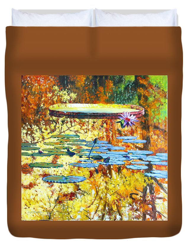 Fall Duvet Cover featuring the painting Fall Colors On The Lily Pond by John Lautermilch