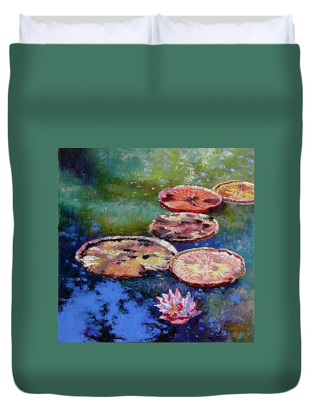 Fall Water Lilies Duvet Cover featuring the painting Fall Colors on the Pond by John Lautermilch