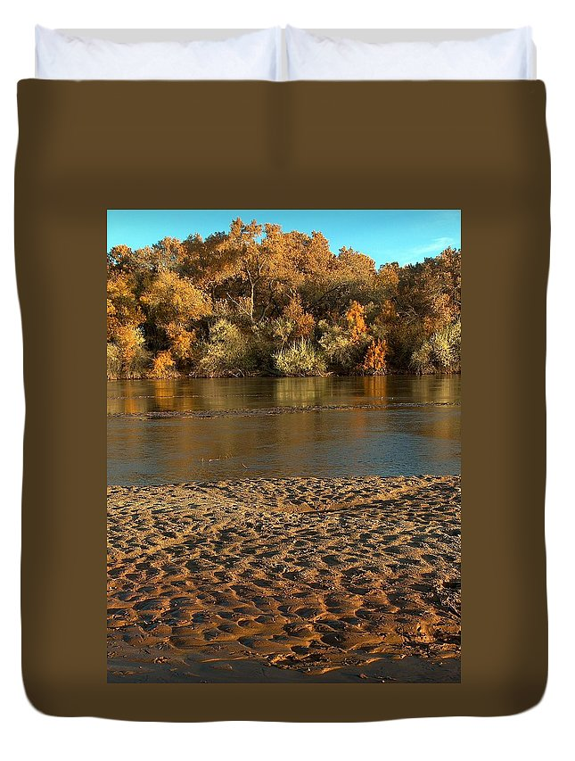 Fall Colors Duvet Cover featuring the photograph Fall Colors On The Rio Grande 1 by Tim McCarthy