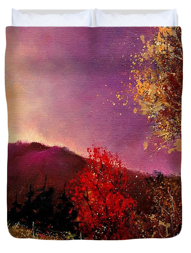River Duvet Cover featuring the painting Fall Colors by Pol Ledent