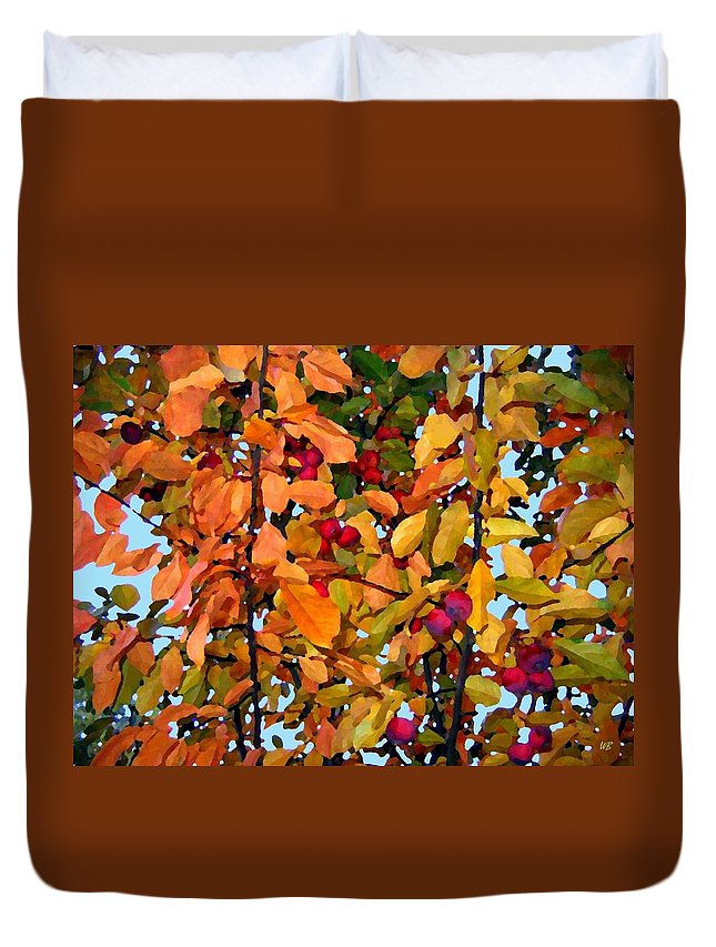 Autumn Duvet Cover featuring the digital art Fall Crab Apples by Will Borden