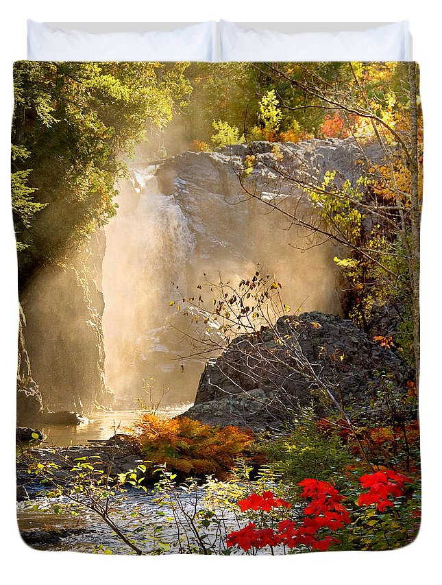 Fall Duvet Cover featuring the photograph Fall Falls Mist Dead River Falls Marquette Mi by Michael Bessler