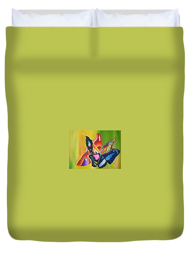 Modernist - Surrealism Duvet Cover featuring the painting Fall Flight by Arides Pichardo