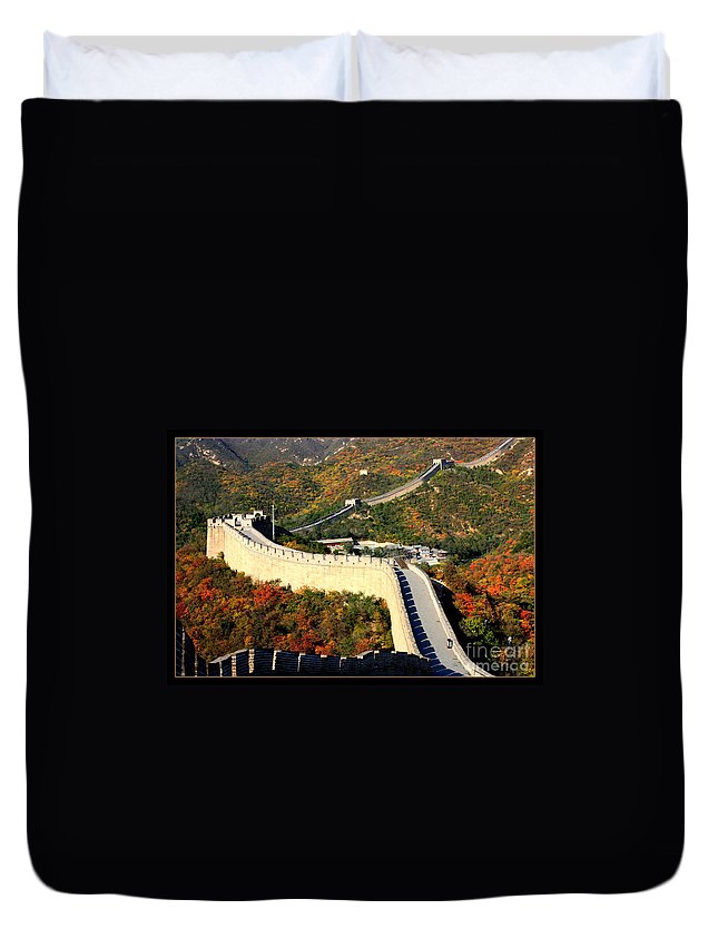 The Great Wall Duvet Cover featuring the photograph Fall Foliage At The Great Wall by Carol Groenen