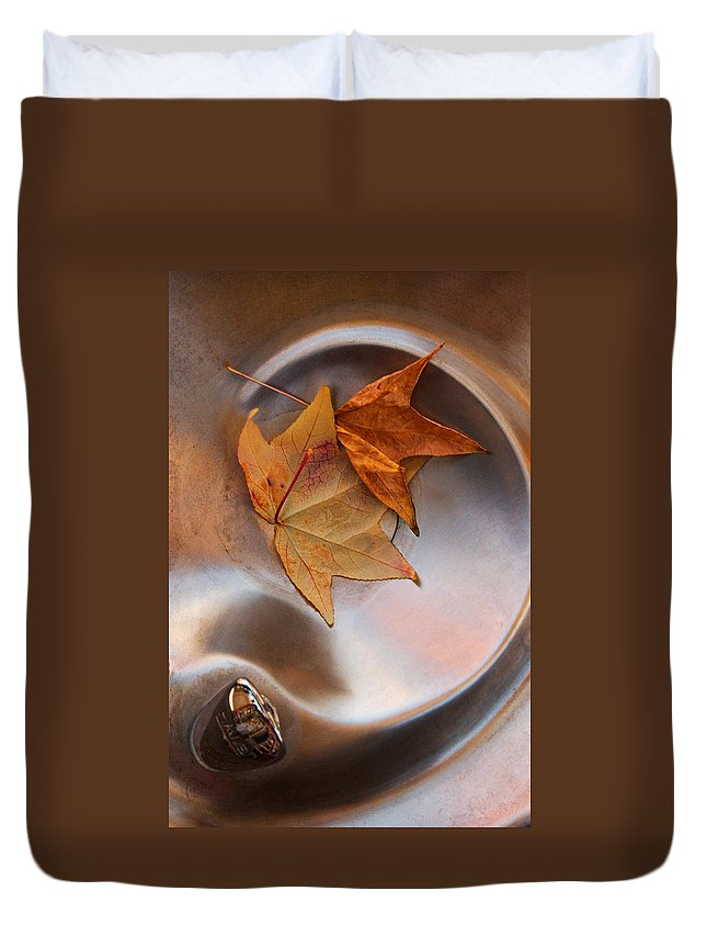 Fall Leaf Duvet Cover featuring the photograph Fall Fountain by Scott Sawyer