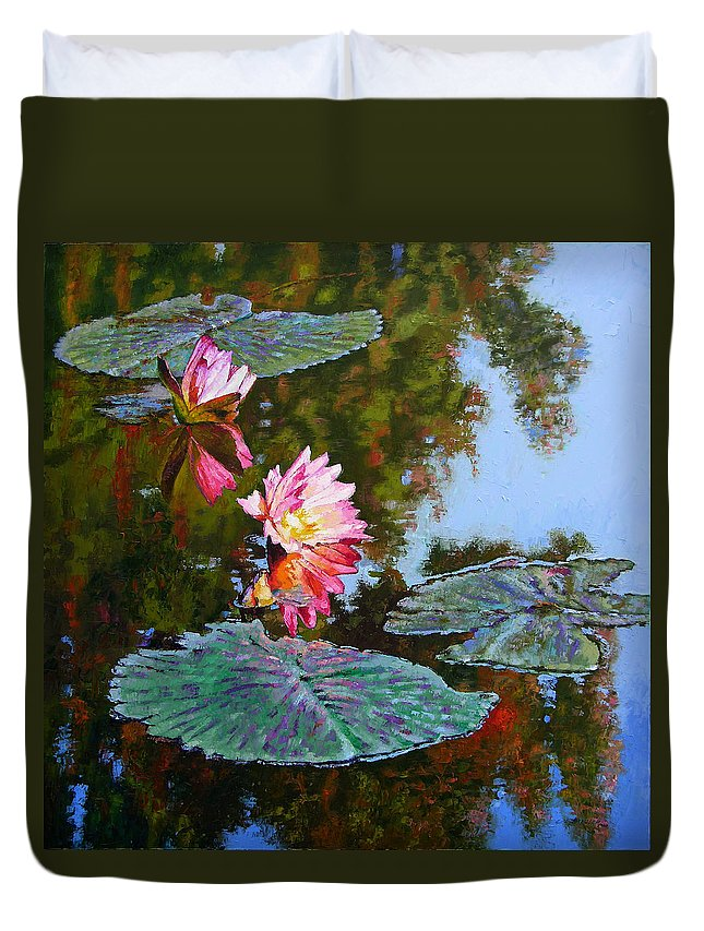 Water Lily Duvet Cover featuring the painting Fall Glow by John Lautermilch