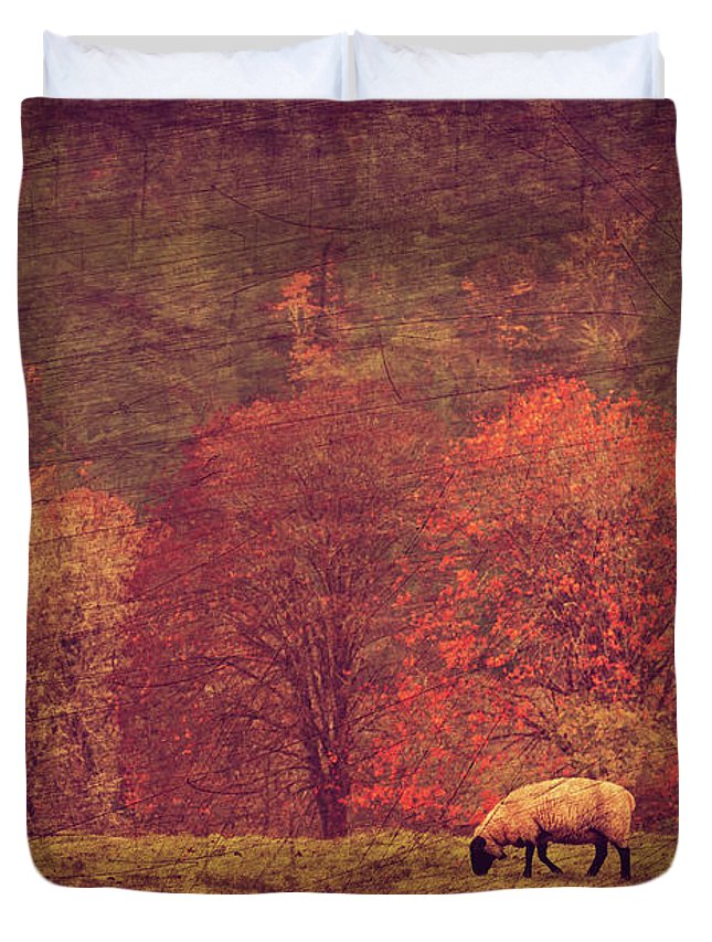Fall Grazing Duvet Cover featuring the mixed media Fall Grazing by KaFra Art