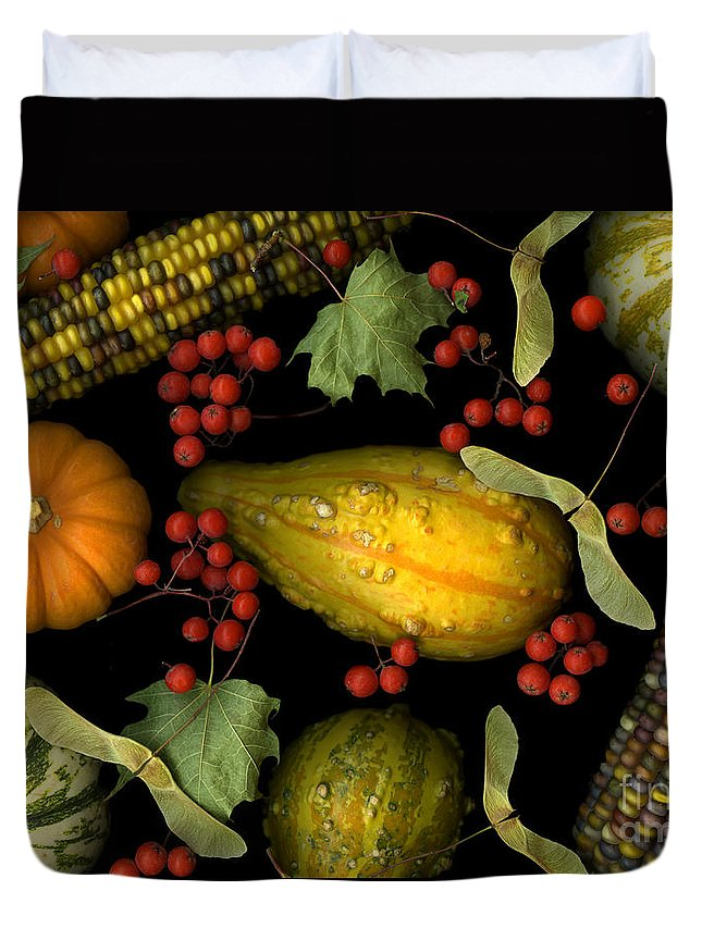Slanec Duvet Cover featuring the photograph Fall Harvest by Christian Slanec