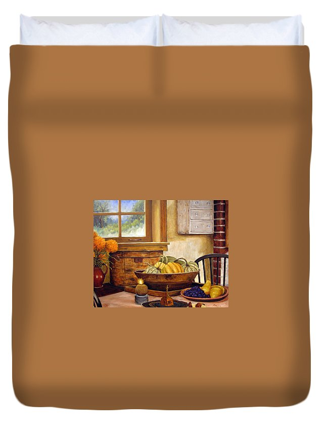 Fall Duvet Cover featuring the painting Fall Harvest by Richard T Pranke