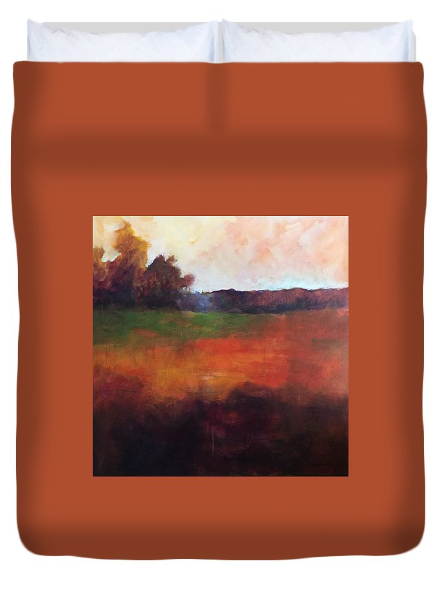 Abstract Duvet Cover featuring the painting Fall Hunt by Karen Kuykendall