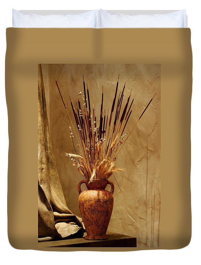 Fall Duvet Cover featuring the photograph Fall In A Vase Still-life by Christine Till