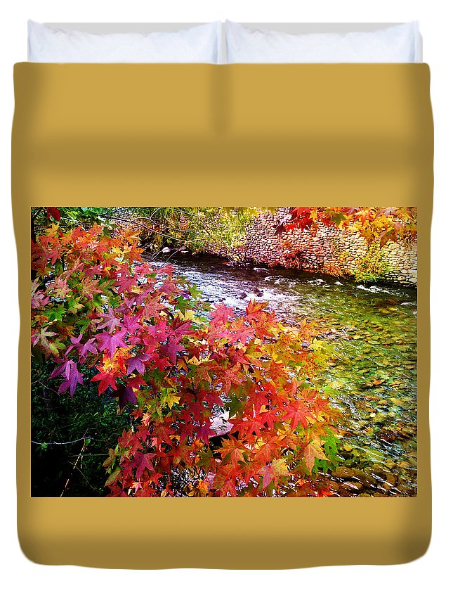 Stream Duvet Cover featuring the photograph Fall In Gatlinburg by Donna Cain