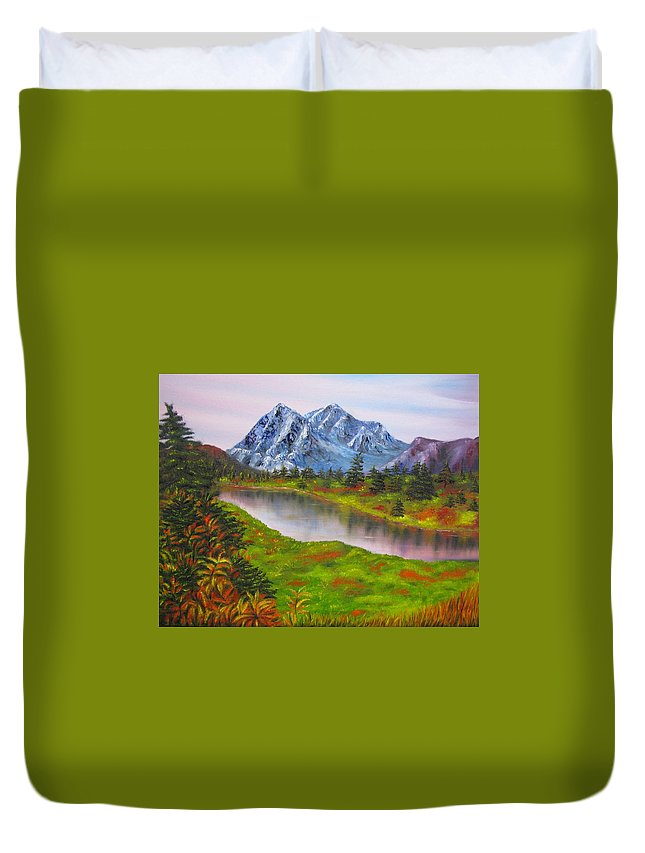 Fall Duvet Cover featuring the painting Fall In Mountains Landscape Oil Painting by Natalja Picugina